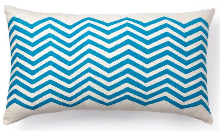Atlas 12x22 Cotton Pillow, Sea Blue