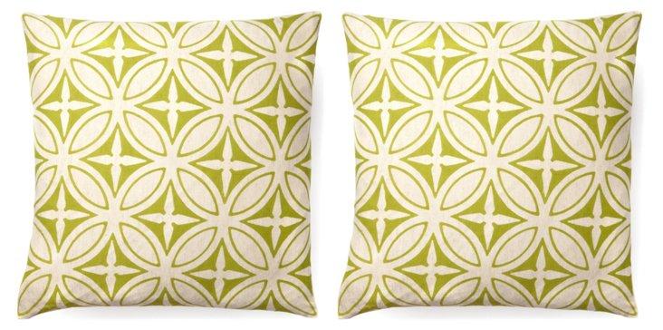 Agra 20x20 Cotton Pillow, Green