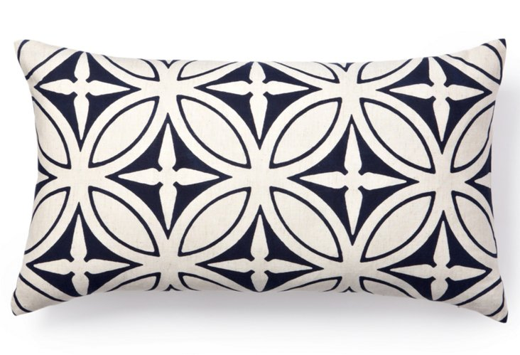 Agra 12x22 Pillow, Navy