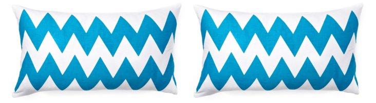 S/2 Altai 12x22 Cotton Pillows, Blue