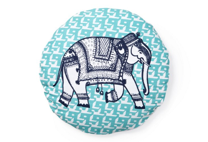 Elephant Round Pillow, Blue/Navy