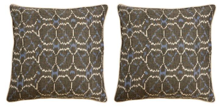S/2 Pebbles 20x20 Cotton Pillows, Gray