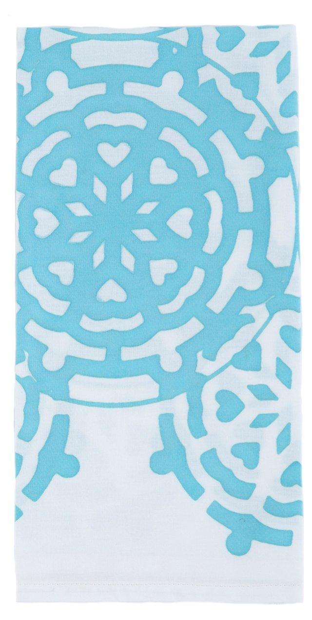 S/4 Mosaic Napkins, Aqua