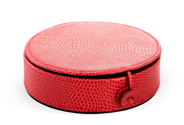 Lizard Leather Travel Jewelry Case, Red