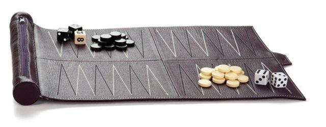 Leather Travel Backgammon Set, Purple