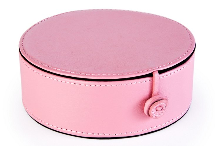 Leather Travel Jewelry Case, Pink