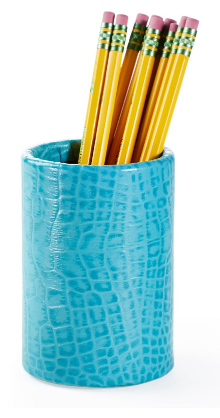 Croc Leather Pencil Cup, Turquoise