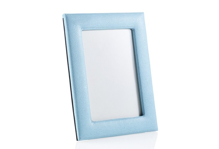 5 x 7 Lizard Leather Picture Frame, Blue