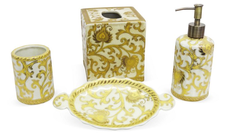 Scroll Bathroom Set, Cream & Gold