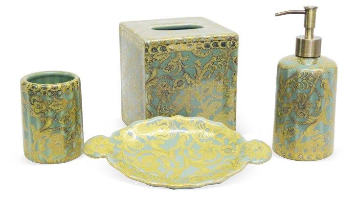 Scroll Bathroom Set, Green & Gold