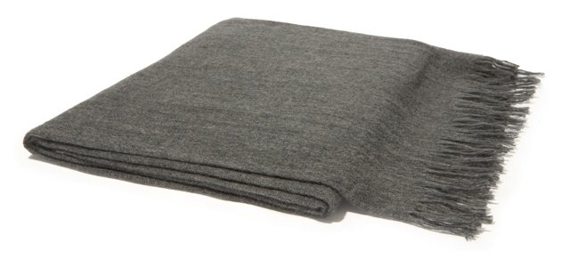 Featherweight Cashmere Throw, Gray