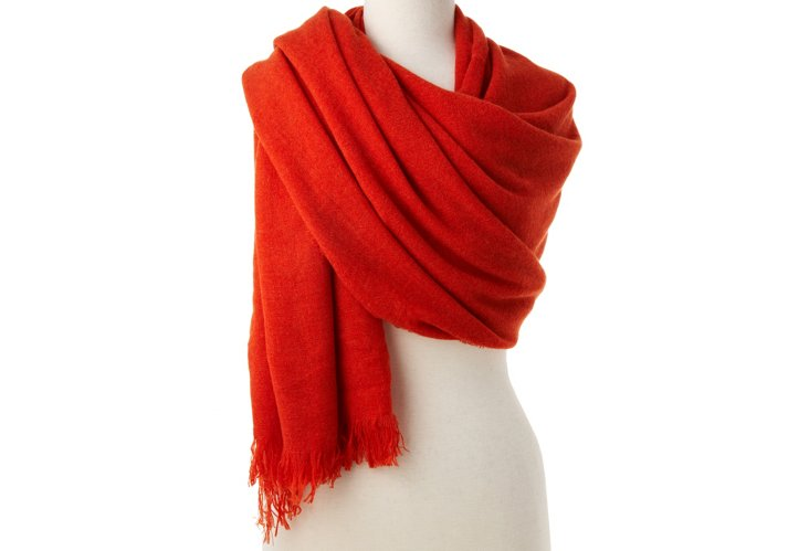 Cashmere Oversize Wrap, Orange