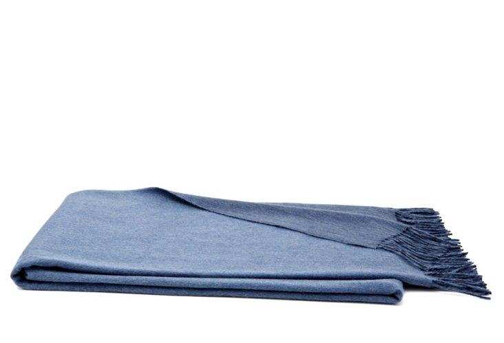 Double-Face Cashmere Throw, Denim/Navy