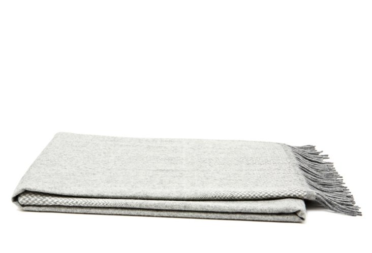 Ombré Herringbone Cashmere Throw, Gray