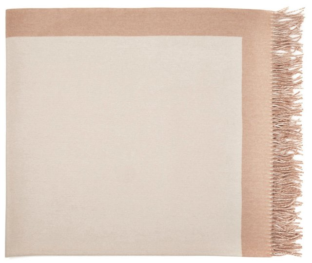 Cashmere Border Throw, Linen