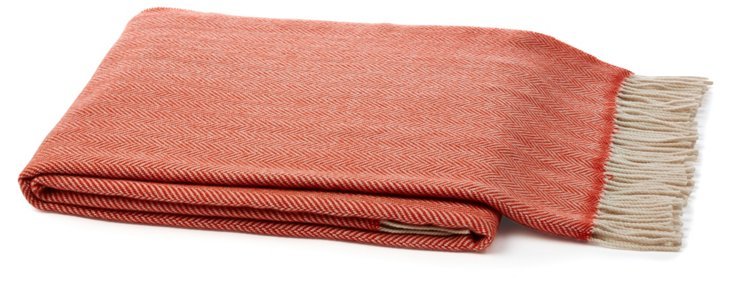 Herringbone Throw, Orange/Beige