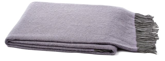 Cashmere-Blended Throw, Purple