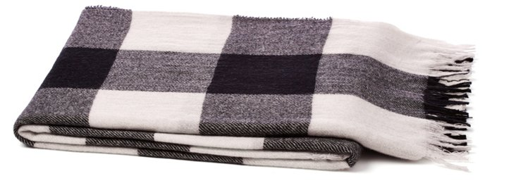 Check Cashmere Throw, White/Black