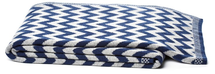 Cotton Chevron Throw, Blue