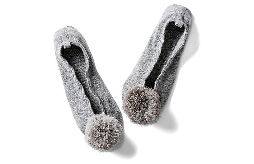 Pom-Pom Slippers, Paloma Gray