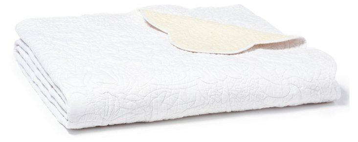 French Trapunto Quilt, White/Ecru
