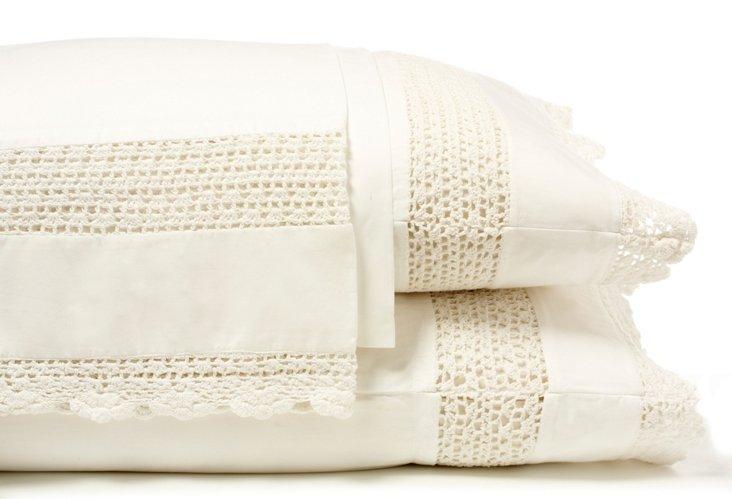 Hand Crochet Sheet Set, Ivory