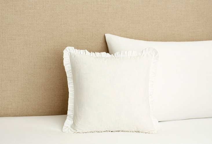 Nosette Ruched Unquilted Pillow, Ivory
