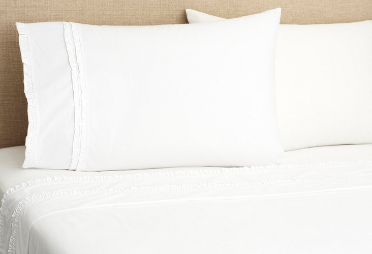 Petite Ruffle Sheet Set, White
