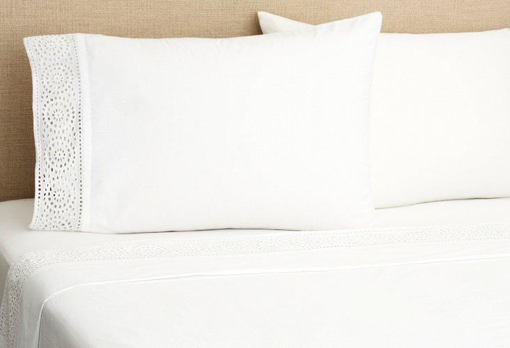 Eyelet Sheet Set, White