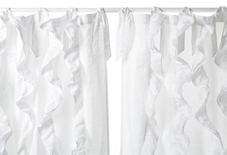 """Ruffle 96"""" Curtain Panel, White"""
