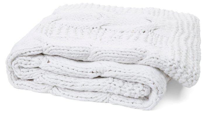 Michaela Cable-Knit Cotton Throw, White