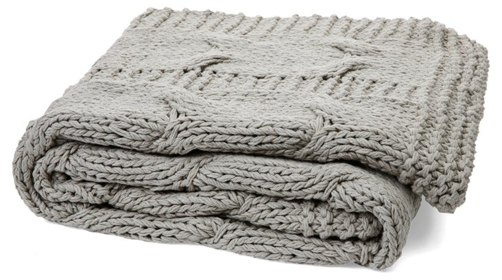 Michaela Cable-Knit Cotton Throw, Gray