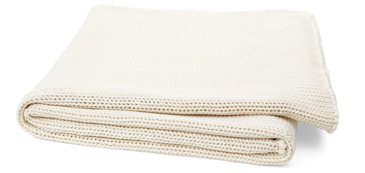 Dilan Knit Cotton Throw, Natural