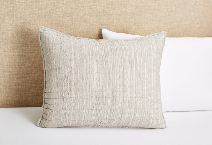 Lucy Quilted Sham, White/Gray