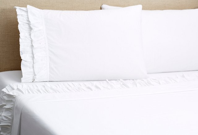 French Ruffle Sheet Set, White