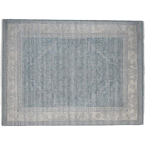 Holmes Hand-Knotted Rug, Blue/Ivory