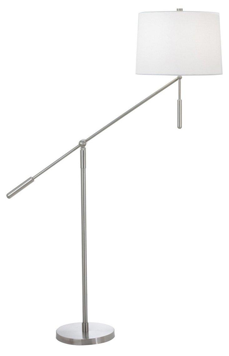 Contra Perno Floor Lamp, Satin Nickel