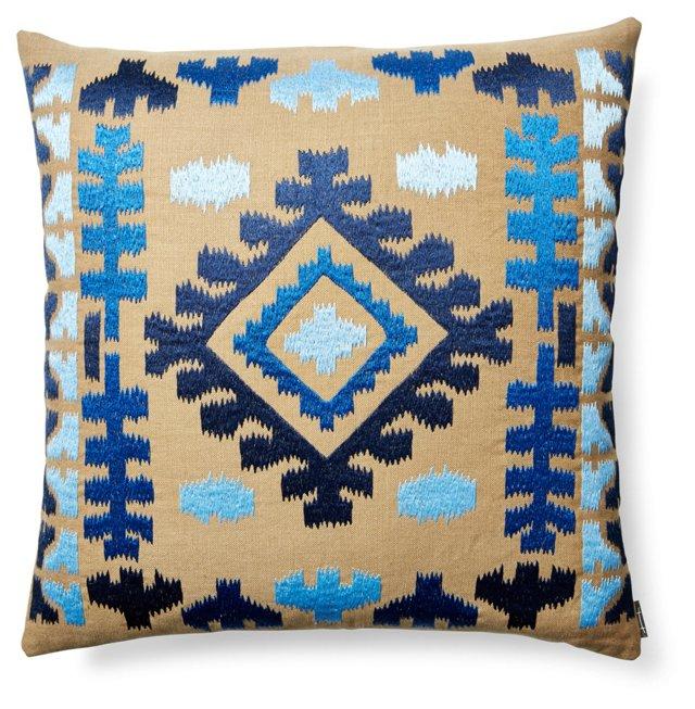 Cabo Ikat 21x21 Sunbrella Pillow, Blue