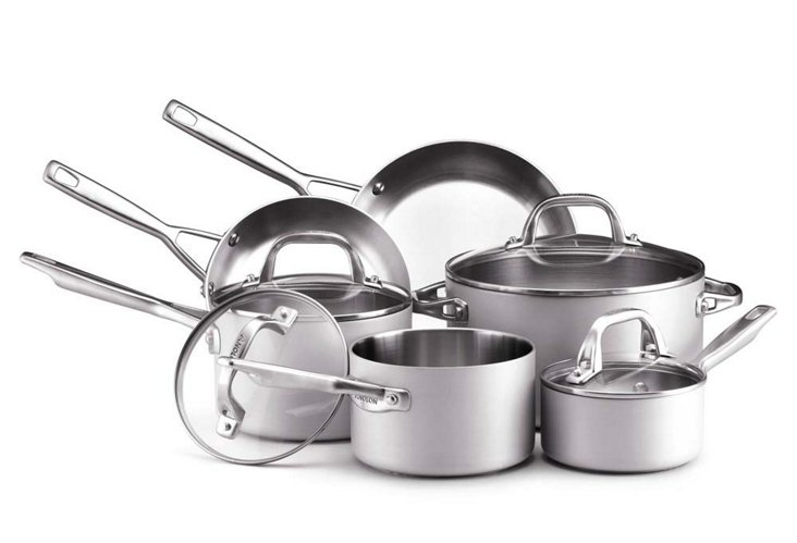 10-Pc Cookware Set, Silver