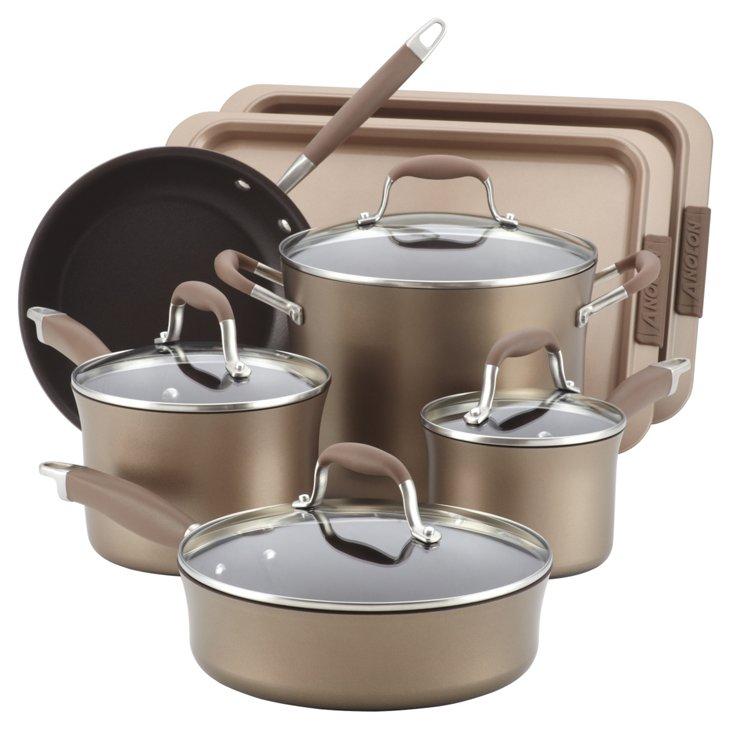 9-Pc Cookware Set w/ Bakeware, Bronze