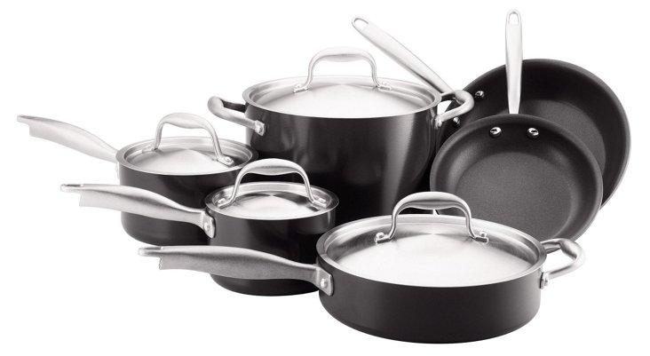 10-Pc Cookware Set, Black/Silver