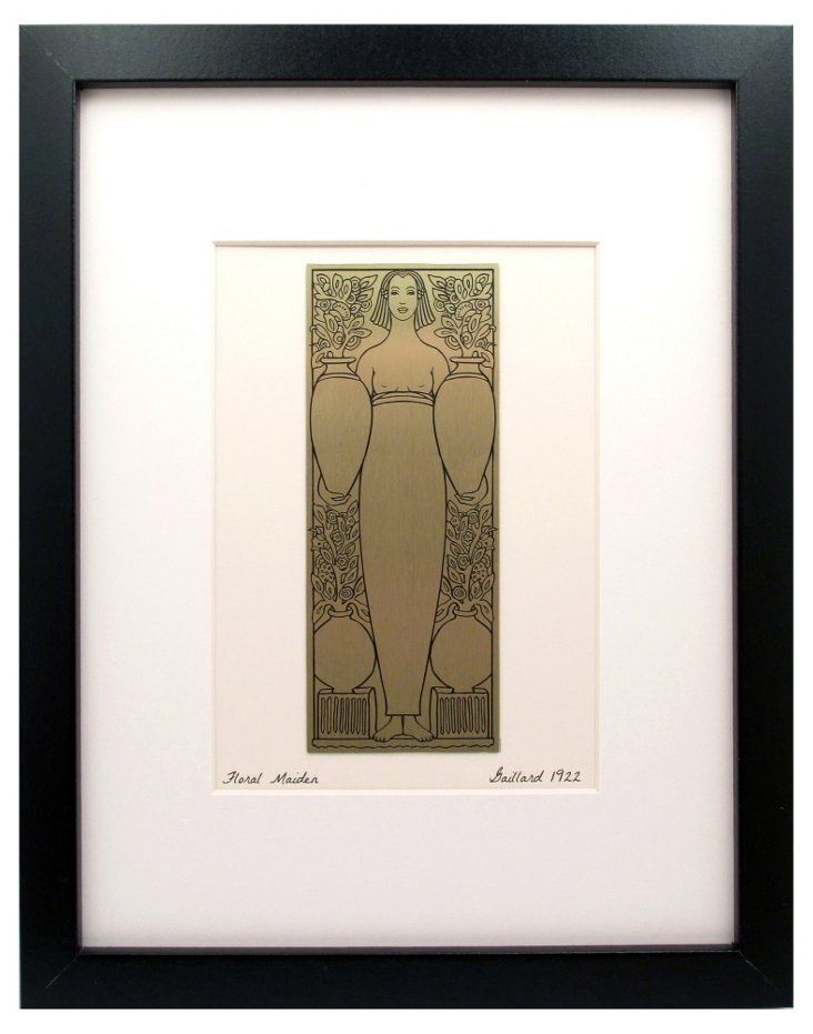 Floral Maiden Etched Brass Print