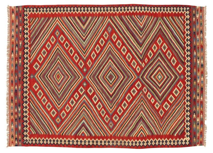 8'9''x6'5'' Kilim Rug, Red/Blue/Multi