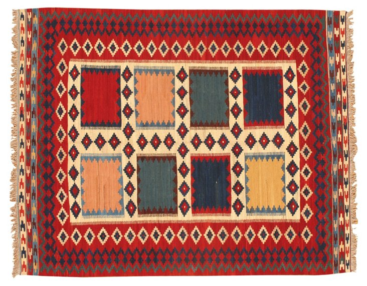 "6'7"" x 5'3"" Kilim Rug, Red/Peach/Multi"