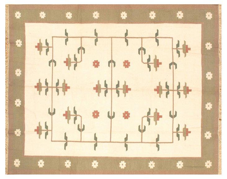 """11'8"""" x 9'5"""" Kilim Rug, Ivory/Sage/Multi"""
