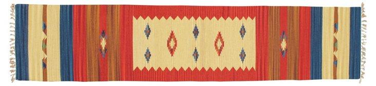 2'x9'4'' Kulob Kilim Rug, Red/Beige