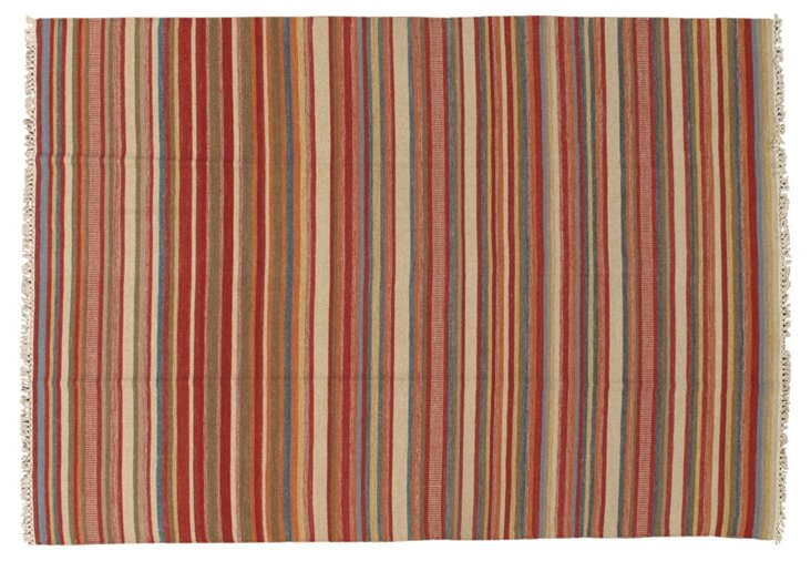 6'5''x9'4'' Taraz Kilim Rug, Red/Multi