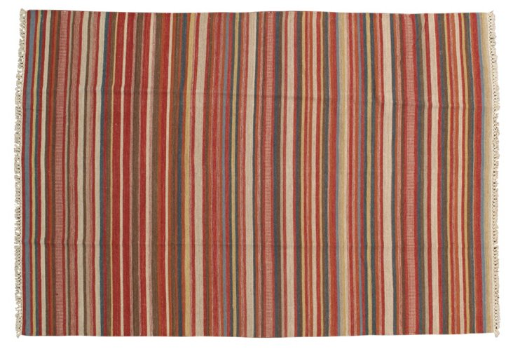 6'5''x9'4'' Parisa Kilim Rug, Red/Multi