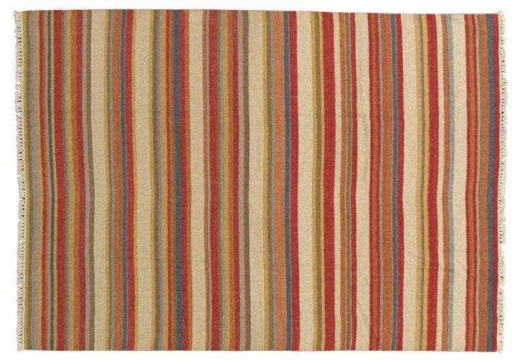 6'7''x9'2'' Sarni Kilim Rug, Red/Multi