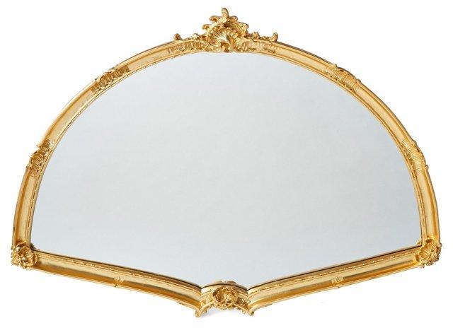 Large Fan Wall Mirror, Gold